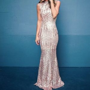 Vici Sabine Rose Gold Sequin Gown Size Large 6-10